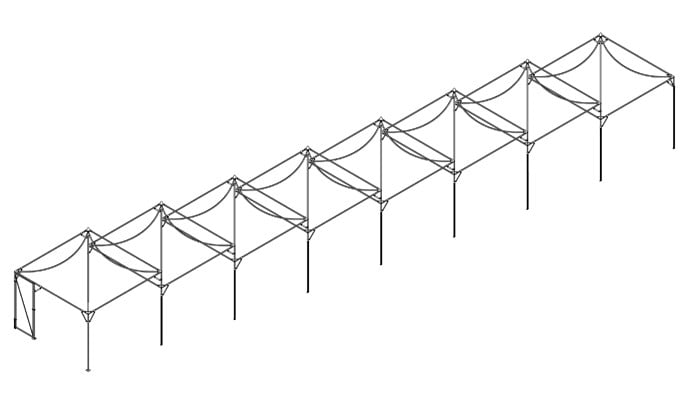 Mutiple Peak Roof Cages on a Slope