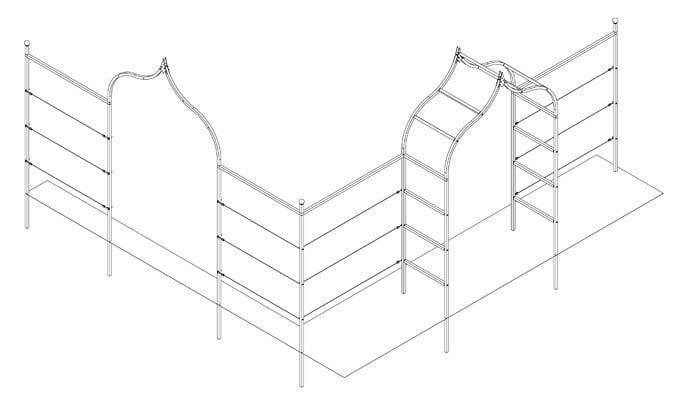 Corner Ogee Arch Fence System Design