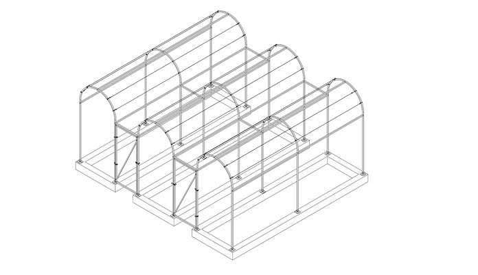Triple Roman Arch Fruit Cage over Raised Beds Design