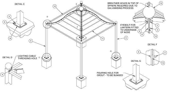 Steel Gazebo Pergola CAD