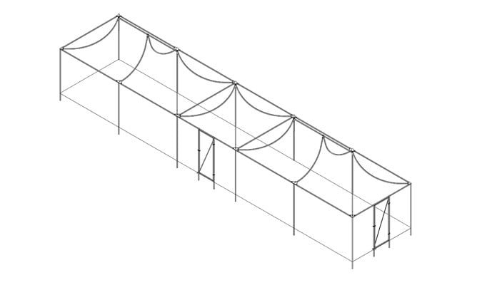 15m x 3m Fruit Cage 2x Pavillion 1x Peak Roof Design