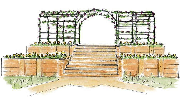 Roman Bisecting Pergola Above Ground Illustration