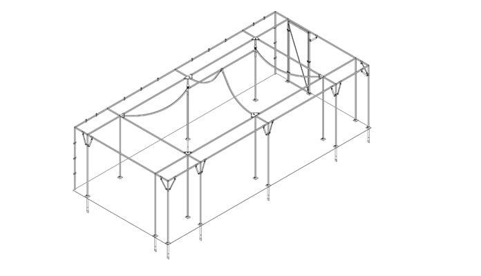 7.5m x 3.5m Pavilion Fruit Cage with Flat Surround Design