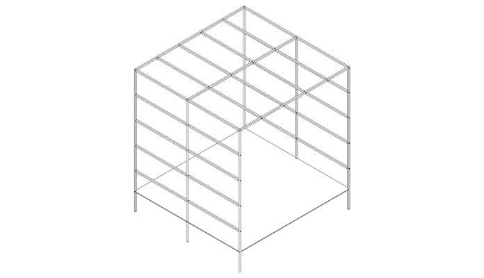 Daisy Barn Garden Square Pergola CAD Drawing