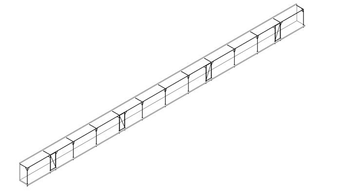 40m x 1m Wall Fixed Fruit Cage Design
