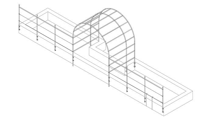 2.5m Roman Arch Fence System and Raised Beds Design