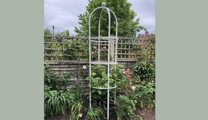 Silk Grey Grand Round Steel Obelisk, Mrs Westley - Staffordshire