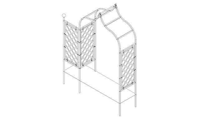 Ogee Half Lattice Arch with Lattice Side Panel Design