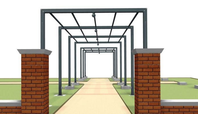 Contemporary Pergola Walkway CAD 2