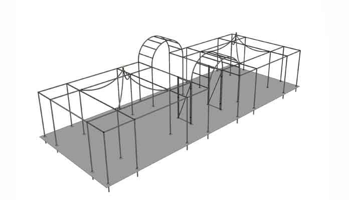 Double Peak Roof Cage with Double Roman Arches