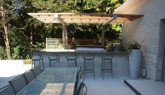 Cantilever Pergola for Outdoor Kitchen 1