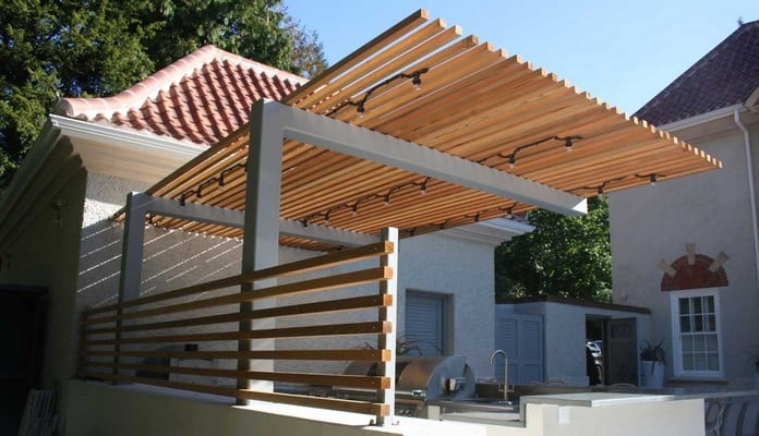 Cantilever Pergola for Outdoor Kitchen 2