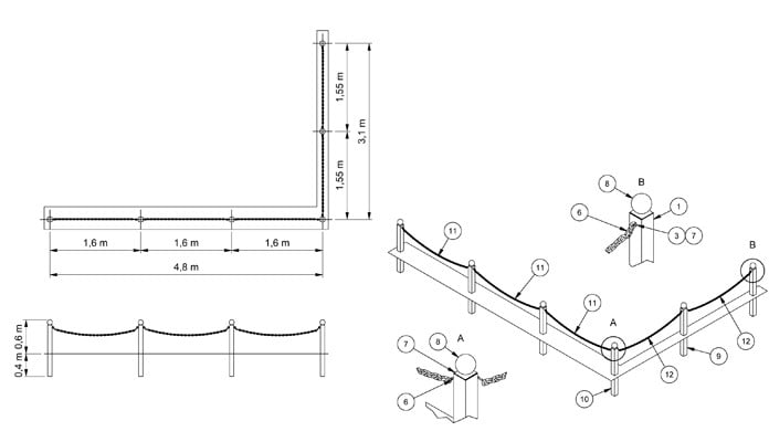 Chain Link Fencing CAD Drawing 1