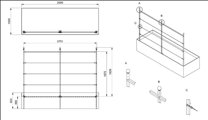Espalier Style Fence Frames CAD Drawing
