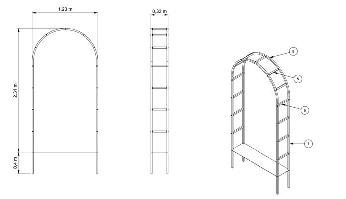 Roman Arch Framing Entrance CAD Drawing