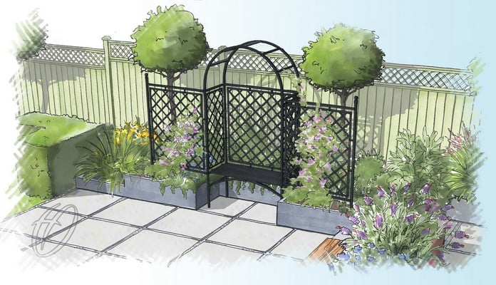 Half Lattice Arbour and Fence Design