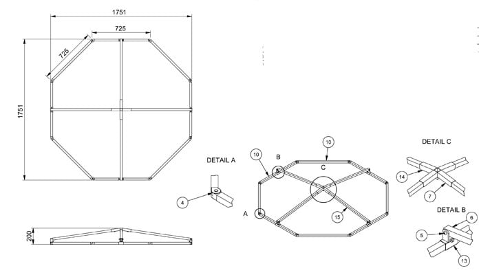 Pond Cover Raised Steel Angled CAD Drawing