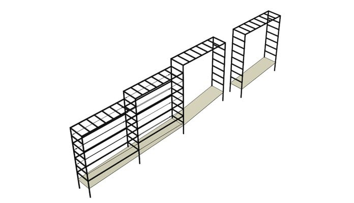 Square Arches Linked on a Slope CAD Design