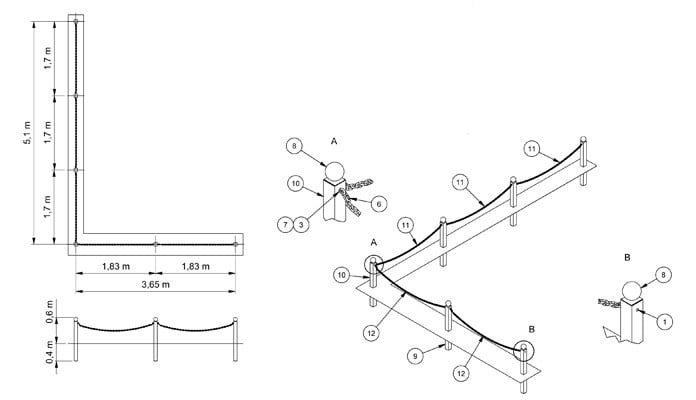 Chain Link Fencing CAD Drawing 2