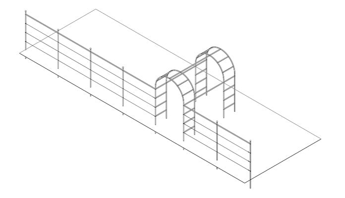 Double Roman Arch Walkway with Fence System Design