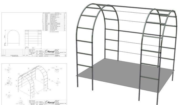 Roman Linked Arches & Side Access CAD Drawing