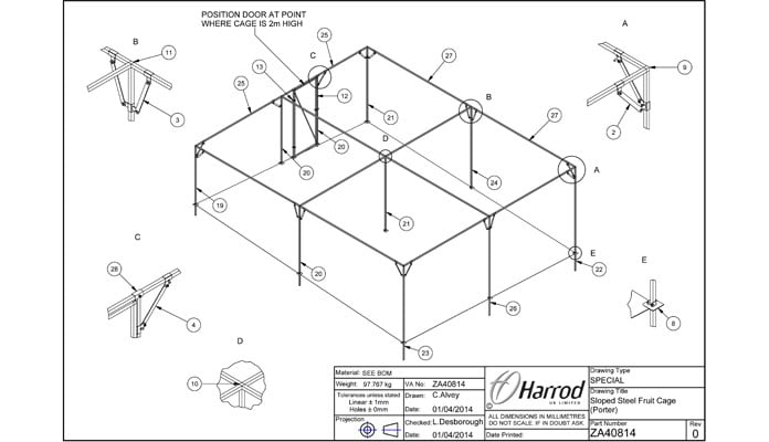 Bespoke Sloped Steel Fruit Cage CAD Drawing 1
