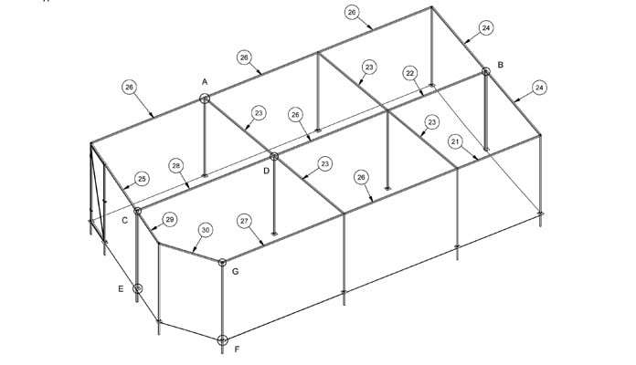 Fruit Cage Steel Angled CAD Drawing 2