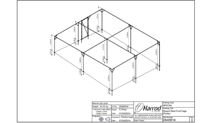 Bespoke Sloped Steel Fruit Cage CAD Drawing 2