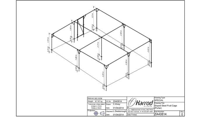 Bespoke Sloped Steel Fruit Cage CAD Drawing 2