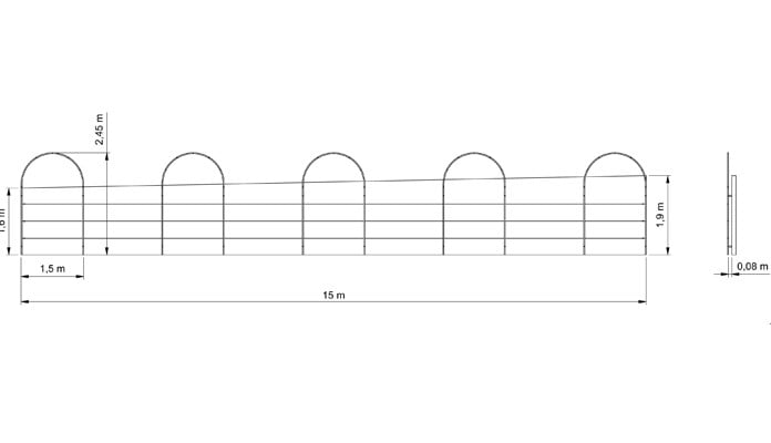 Roman Arches Wall Fixed CAD Drawing 1