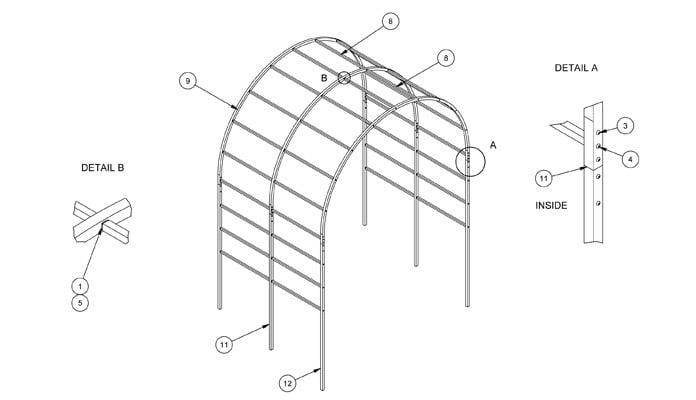Aluminium Roman Pergola CAD Drawing 1