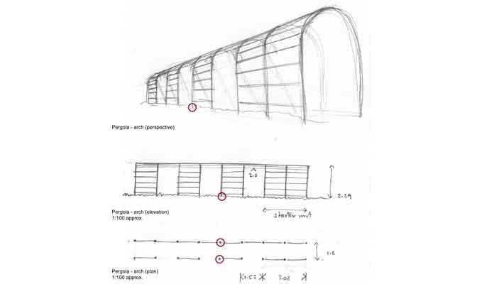 Roman Pergola with Side Access Drawing 1