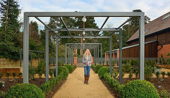 Contemporary Pergola Walkway Spring 2