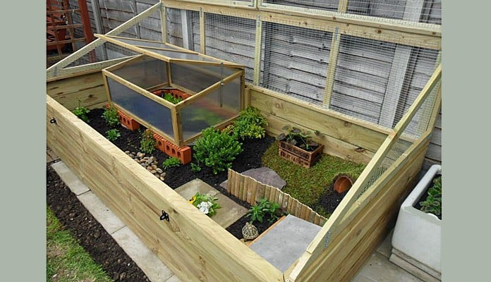 4ft x 8ft Allotment Raised Bed Tortoise Enclosure, Mrs Huxtable - Hertfordshire