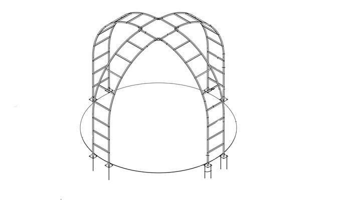 Roman Rose Arch Gazebo CAD Drawing