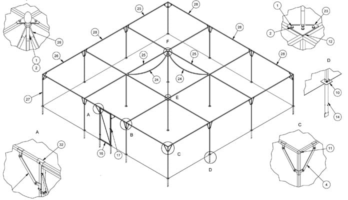 Fruit Cage Steel Peak for Brassicas CAD Drawing