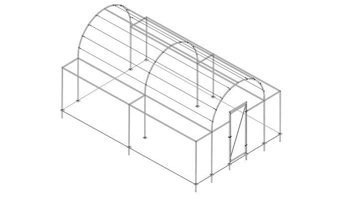 4m x 6m Roman Arch Fruit Cage Design
