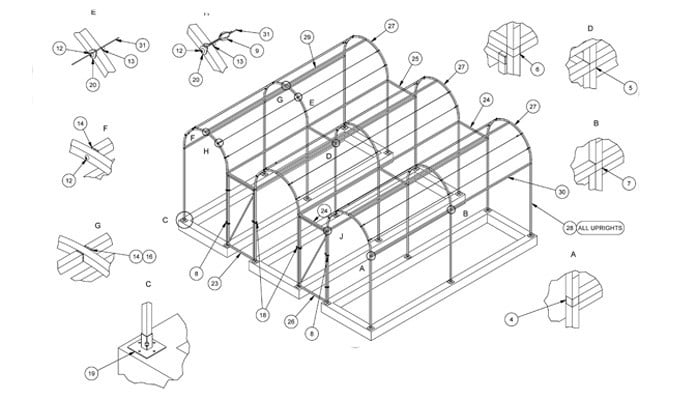Roman Arch Fruit Cage - CAD Drawing 21