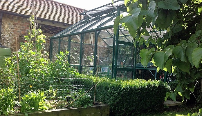 8ft x 10ft Pine Green Greenhouse, Mrs Musson - Buckinghamshire