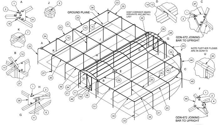 Curved Steel Fruit Cage CAD Drawing 1