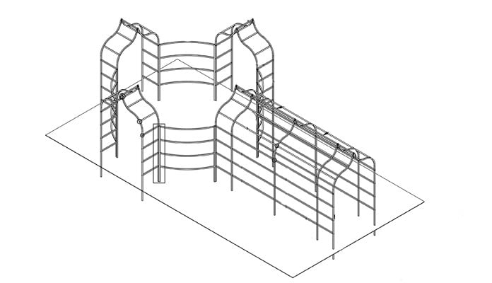 Ogee Arches, Curved Fence and Pergola CAD Drawing