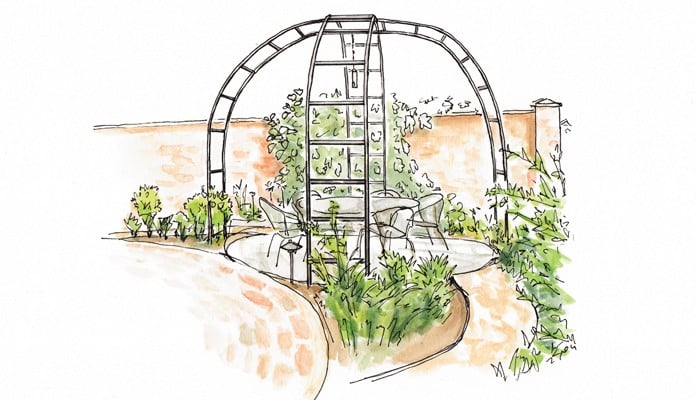 Roman Rose Arch Gazebo Illustration
