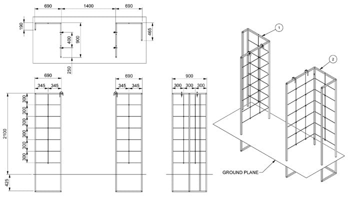 Contemporary Growing Frames CAD Drawing 2