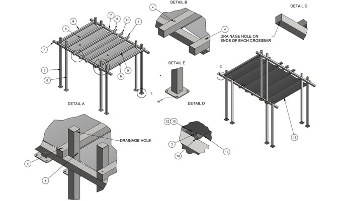 Contemporary Pergola Gazebo with Shade CAD 2