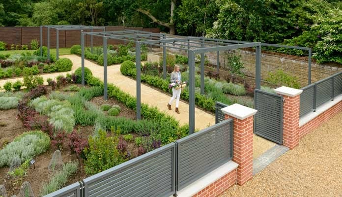 Contemporary Pergola Walkway Summer 1