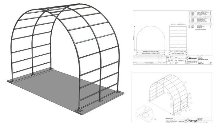 Wisley Roman Pergola CAD Drawing