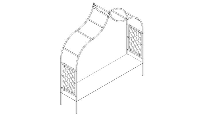 2.5m Ogee Arch with Half Lattice Design