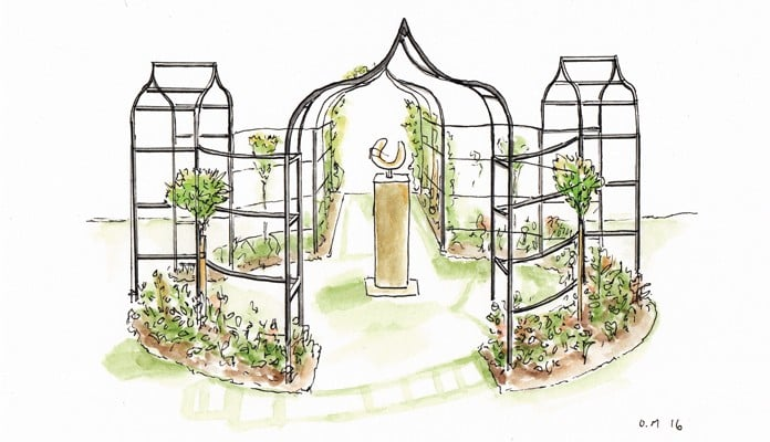 Ogee Arches, Curved Fence and Pergola Illustration