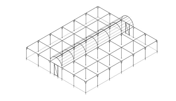 Roman Arch Fruit Cage with Flat Roof Extension Design