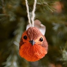 Bristle and Wood Robin Tree Decoration by Gisela Graham